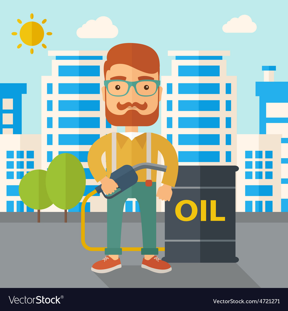 Businessman with oil can and pump vector | Price: 1 Credit (USD $1)