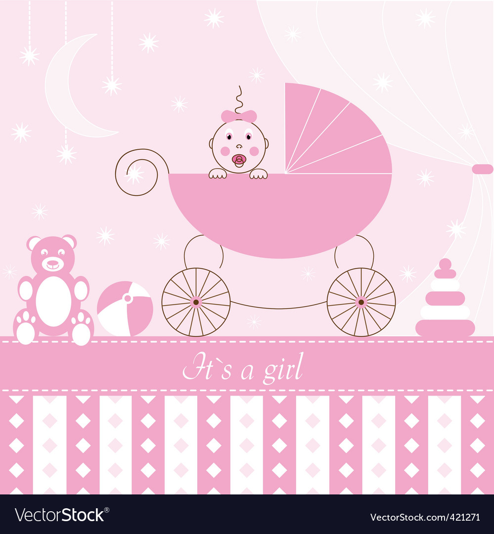Card  girl in pram vector | Price: 1 Credit (USD $1)