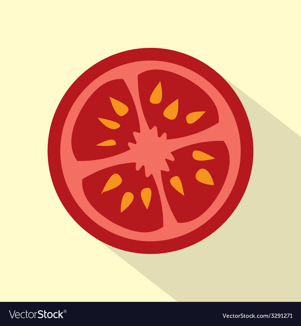 Flat design tomato icon vector | Price: 1 Credit (USD $1)