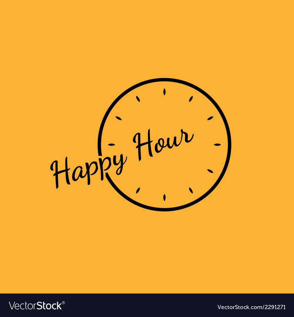 Happy hour background with clock vector | Price: 1 Credit (USD $1)