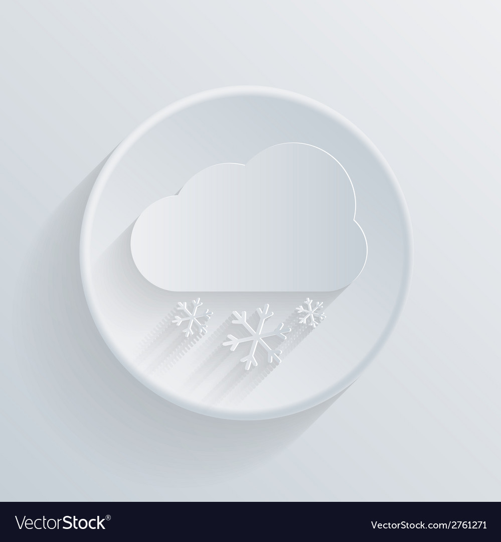Paper circle flat icon cloud snow vector | Price: 1 Credit (USD $1)