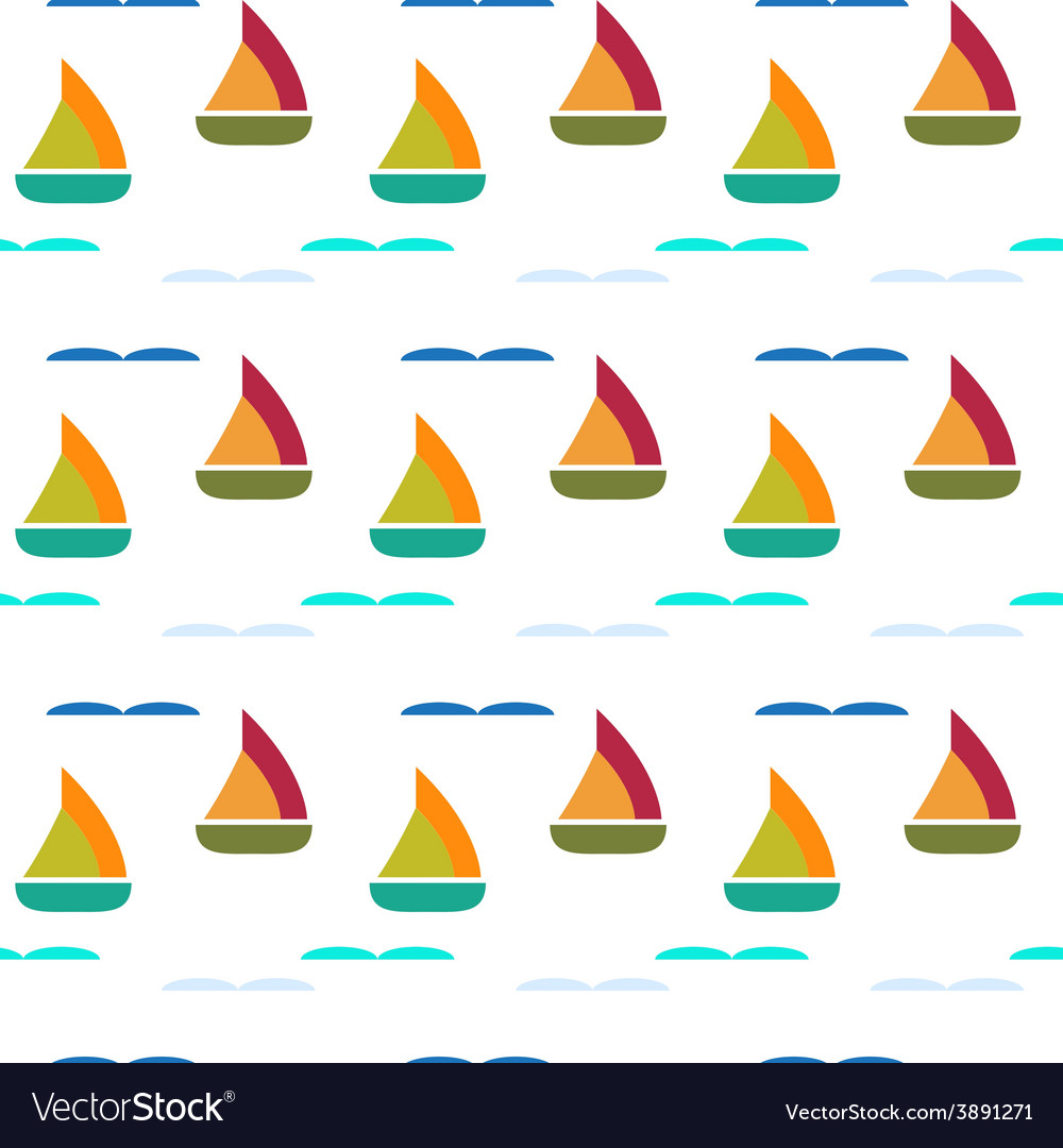 Ship in sea seamless pattern vector | Price: 1 Credit (USD $1)