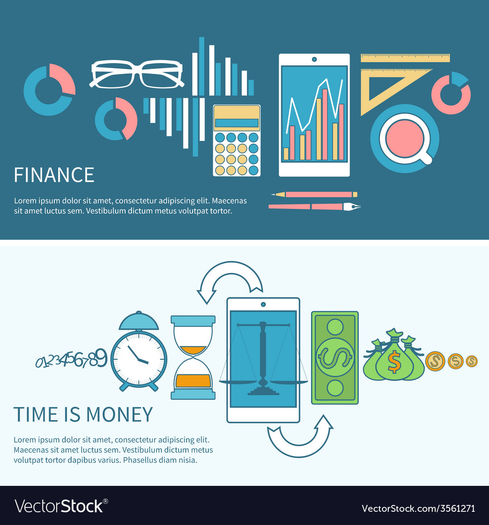 Time is money and finance concept vector | Price: 1 Credit (USD $1)