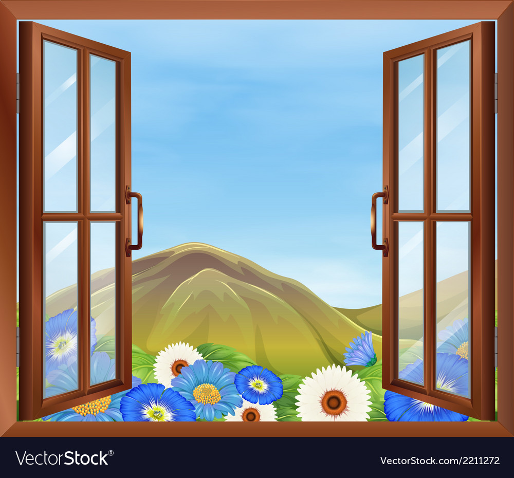 A window with flowers outside vector | Price: 1 Credit (USD $1)