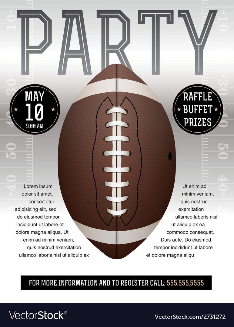 American football party flyer silver vector | Price: 1 Credit (USD $1)