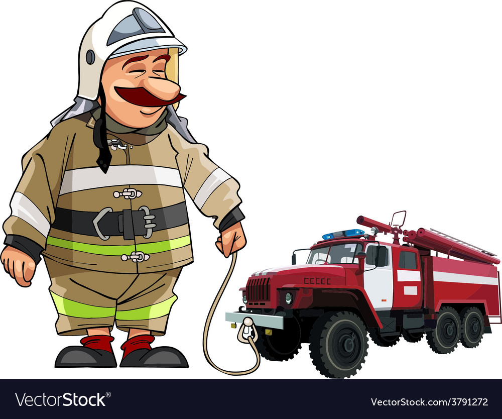 Cartoon firefighter with fire engine vector | Price: 3 Credit (USD $3)