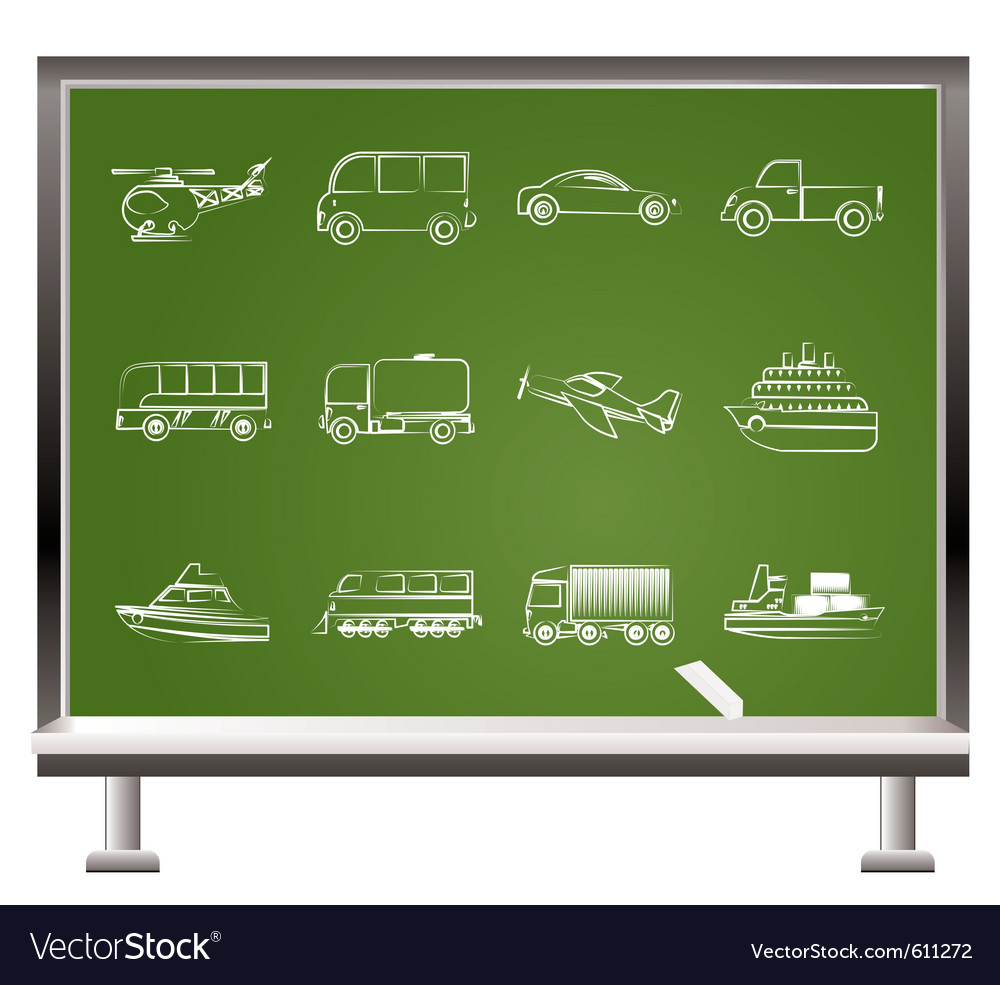 Chalk travel and transportation vector | Price: 1 Credit (USD $1)