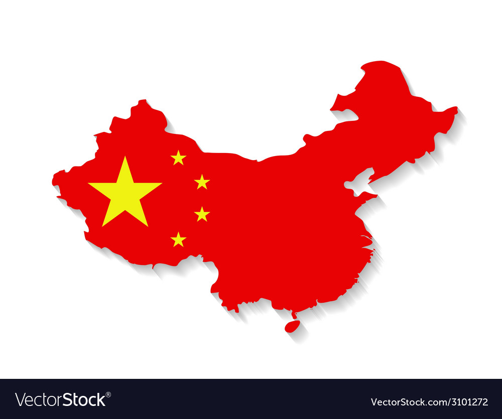 China flag map with shadow effect vector | Price: 1 Credit (USD $1)