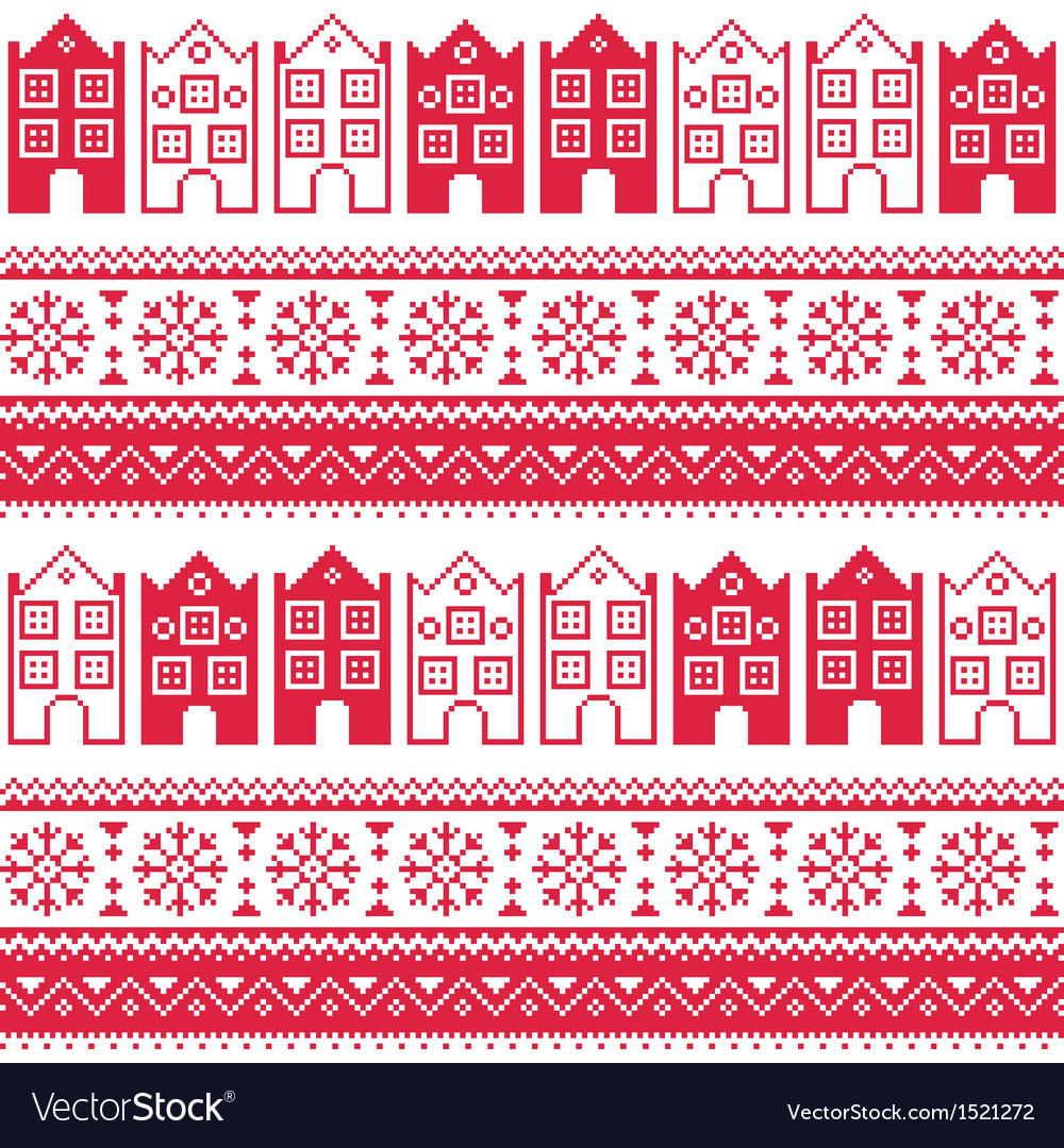 Christmas knitted seamless pattern with town house vector | Price: 1 Credit (USD $1)
