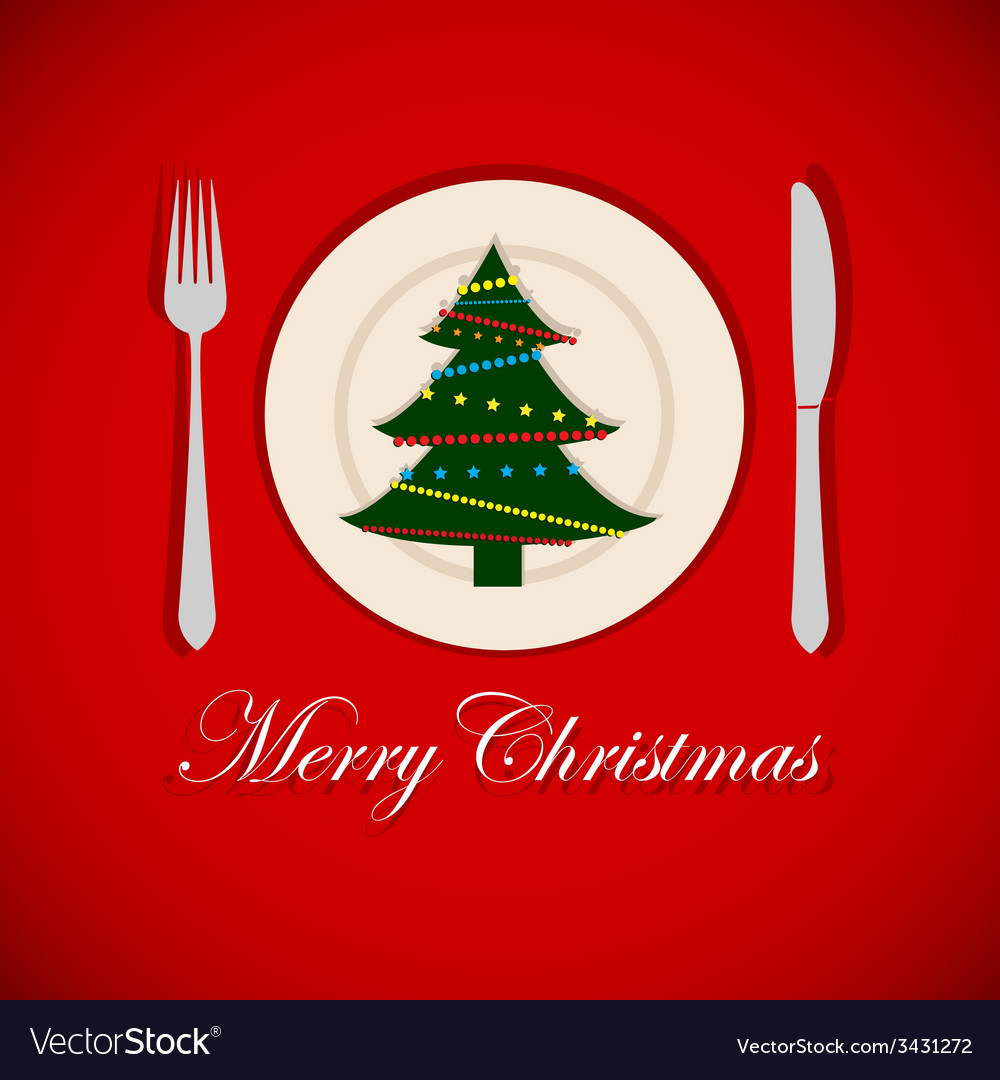 Christmas tree on a platter vector | Price: 1 Credit (USD $1)