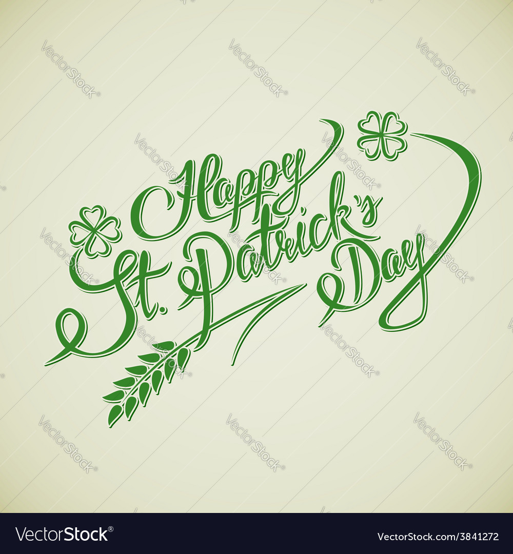 Happy st patricks day lettering greeting card vector | Price: 1 Credit (USD $1)