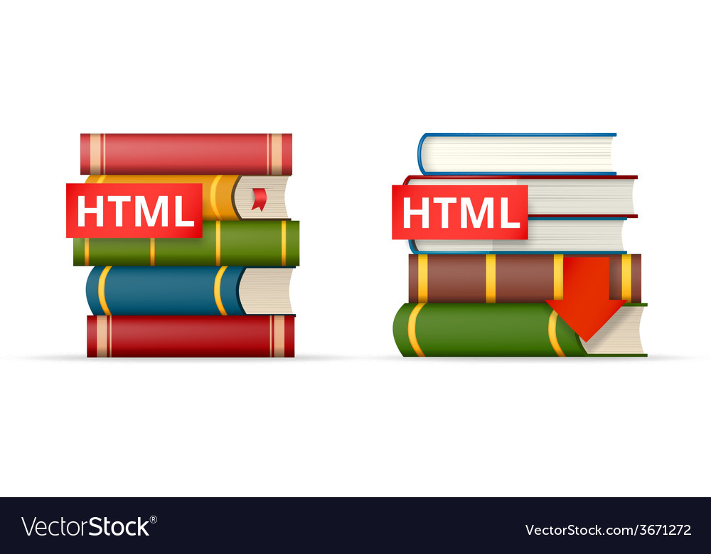 Html books stacks icons vector | Price: 1 Credit (USD $1)