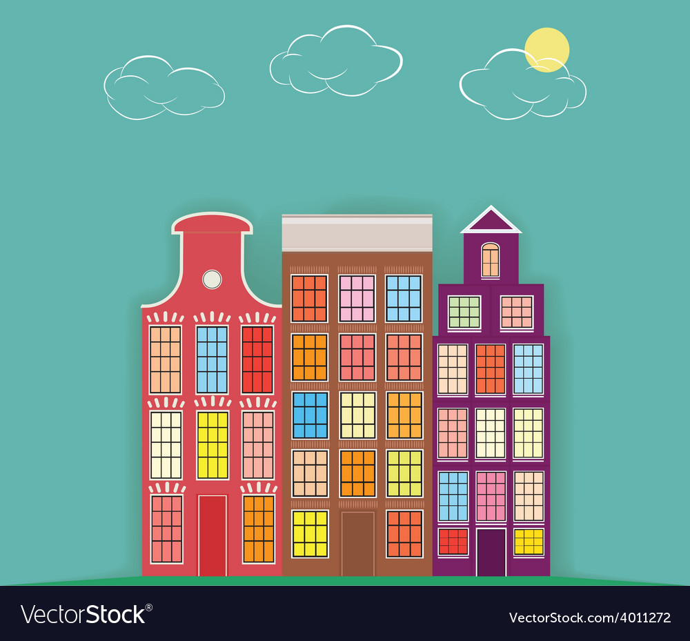 Original three paper houses on a light background vector | Price: 1 Credit (USD $1)