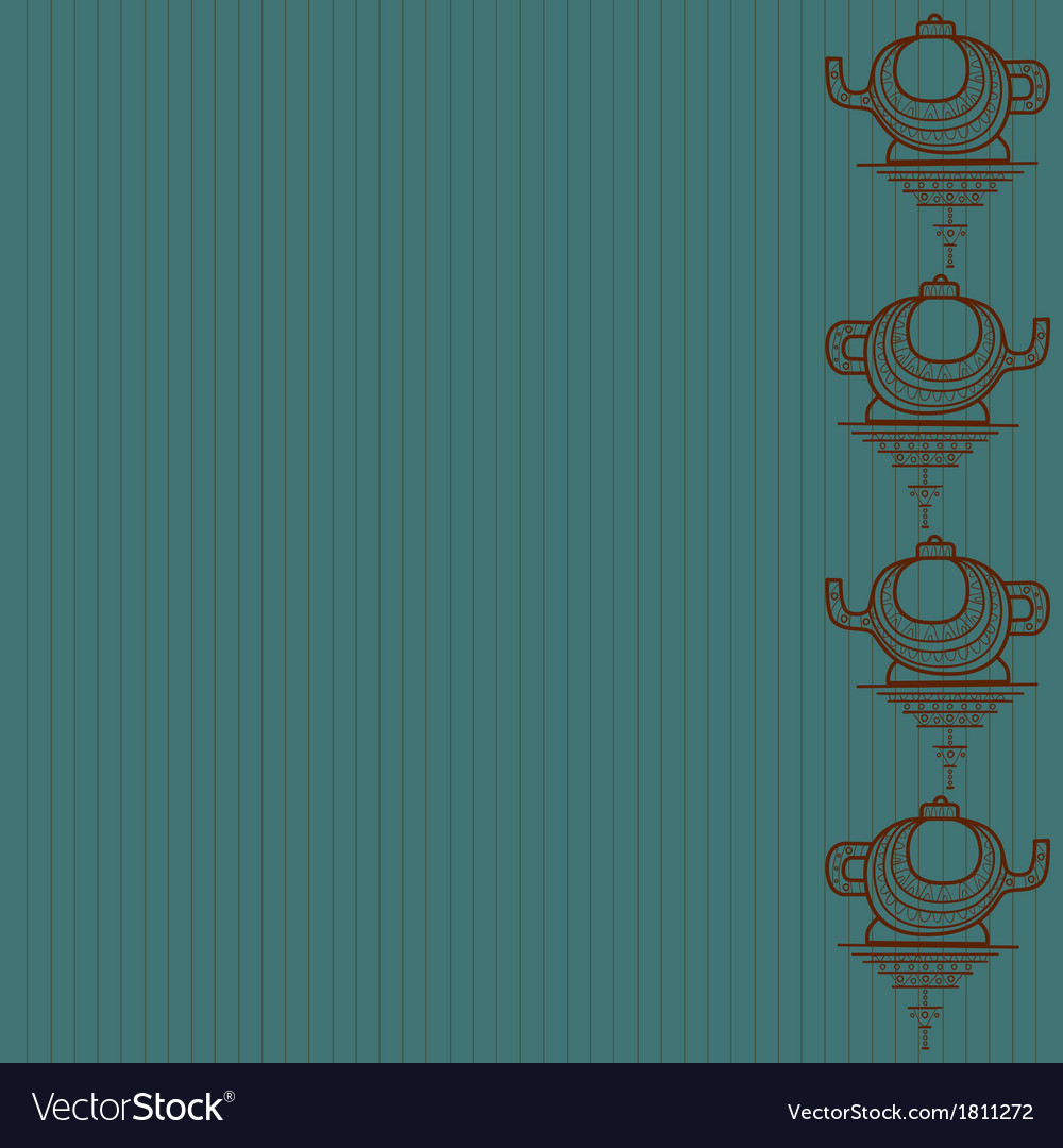 Pattern of silhouette of teapot on a blue backgrou vector | Price: 1 Credit (USD $1)