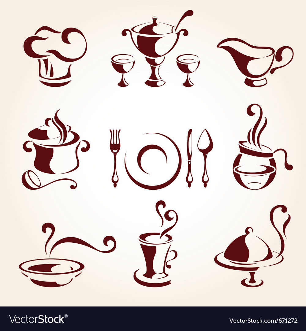 Restaurant elements set vector | Price: 1 Credit (USD $1)