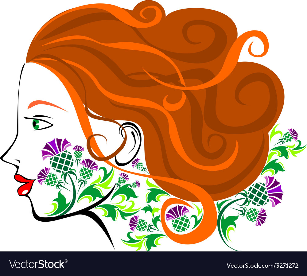 Scottish women face vector