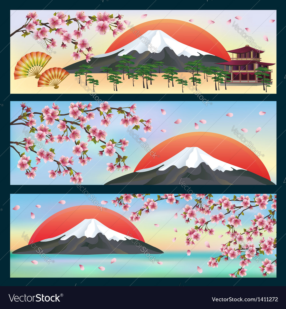 Set of horizontal banners japanese style vector | Price: 1 Credit (USD $1)