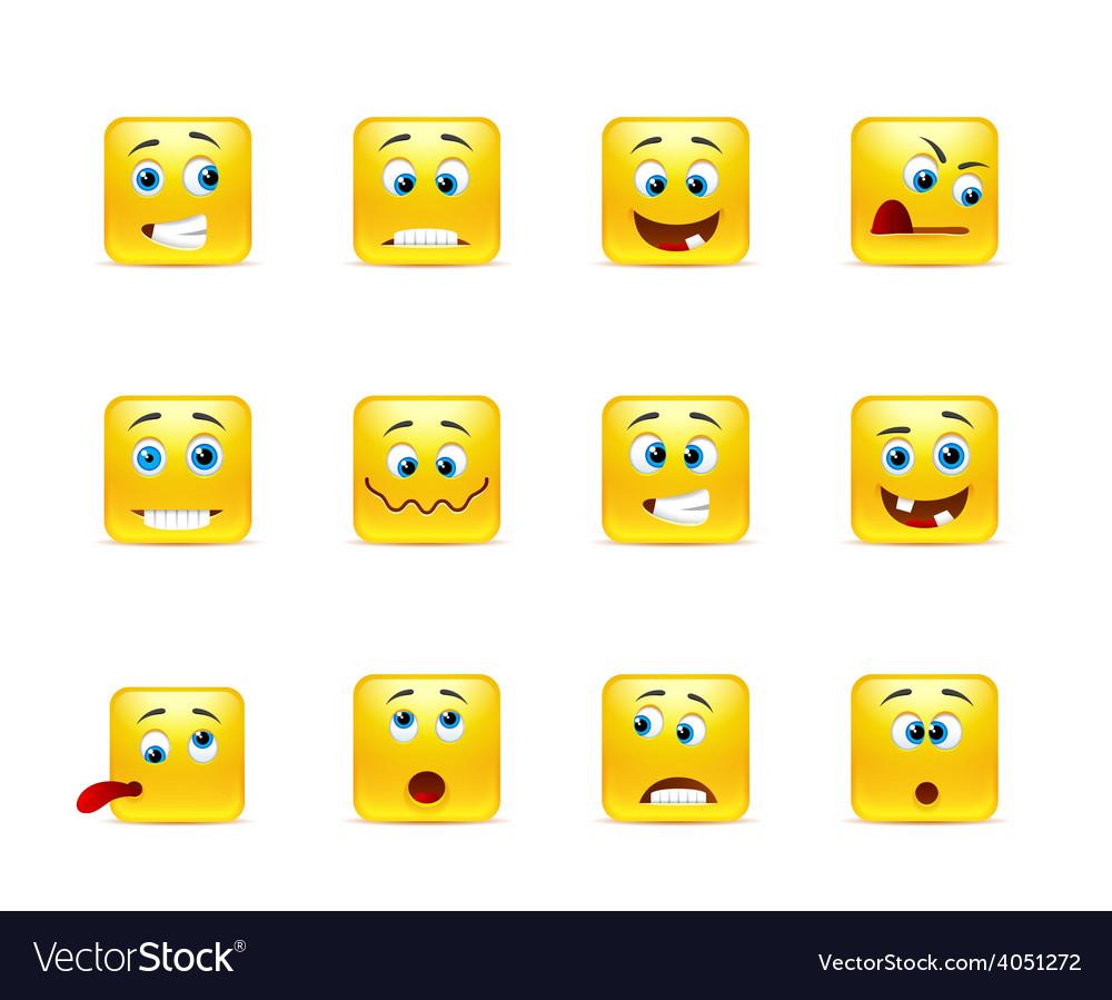 Set of smiles crazy vector | Price: 1 Credit (USD $1)
