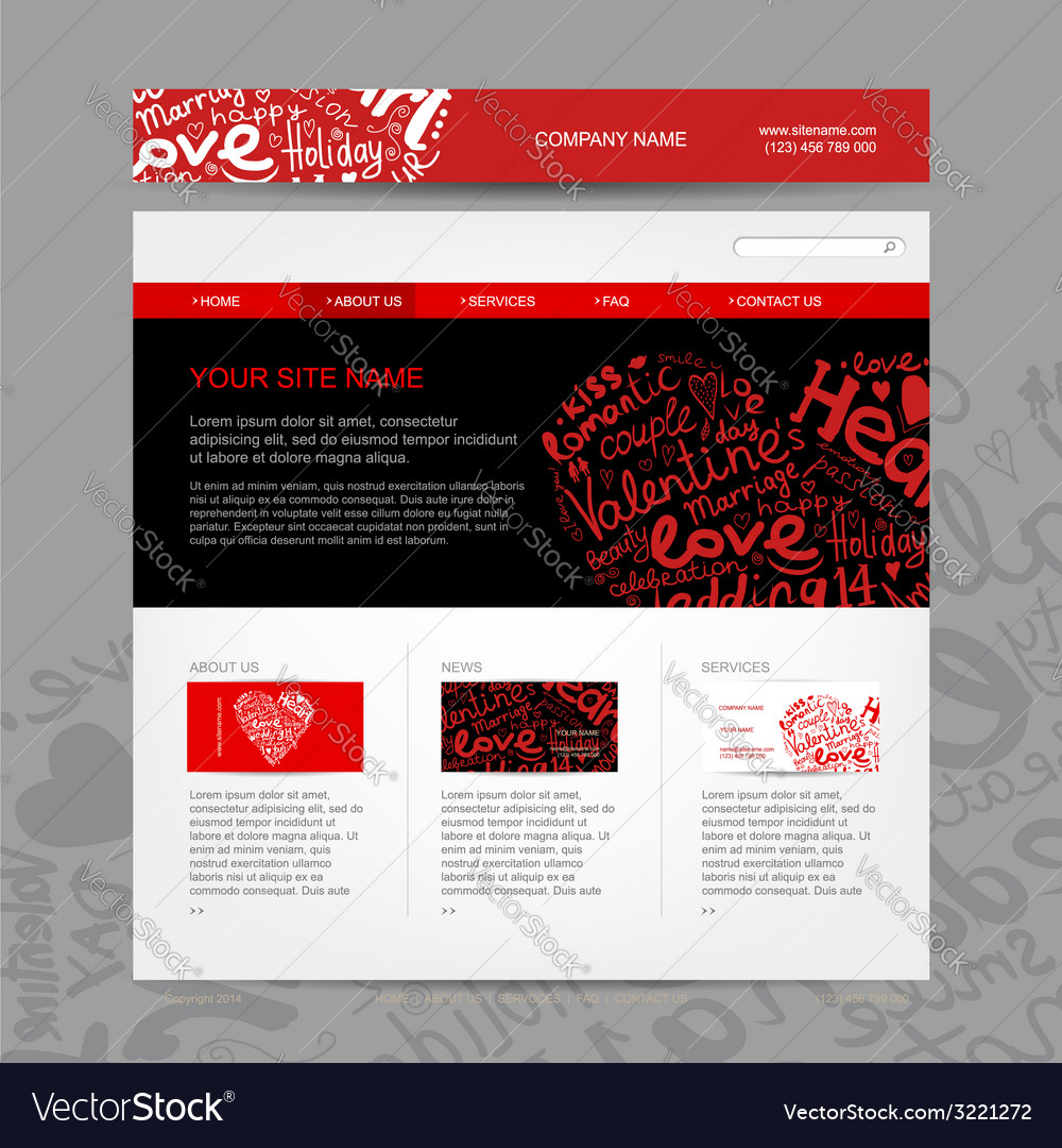 Website design template for dating site vector | Price: 1 Credit (USD $1)