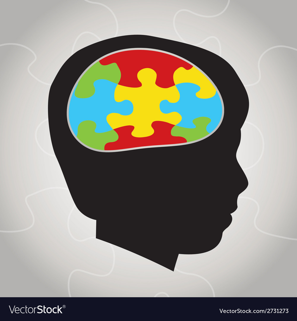 Autism awareness silhouette and brain vector | Price: 1 Credit (USD $1)