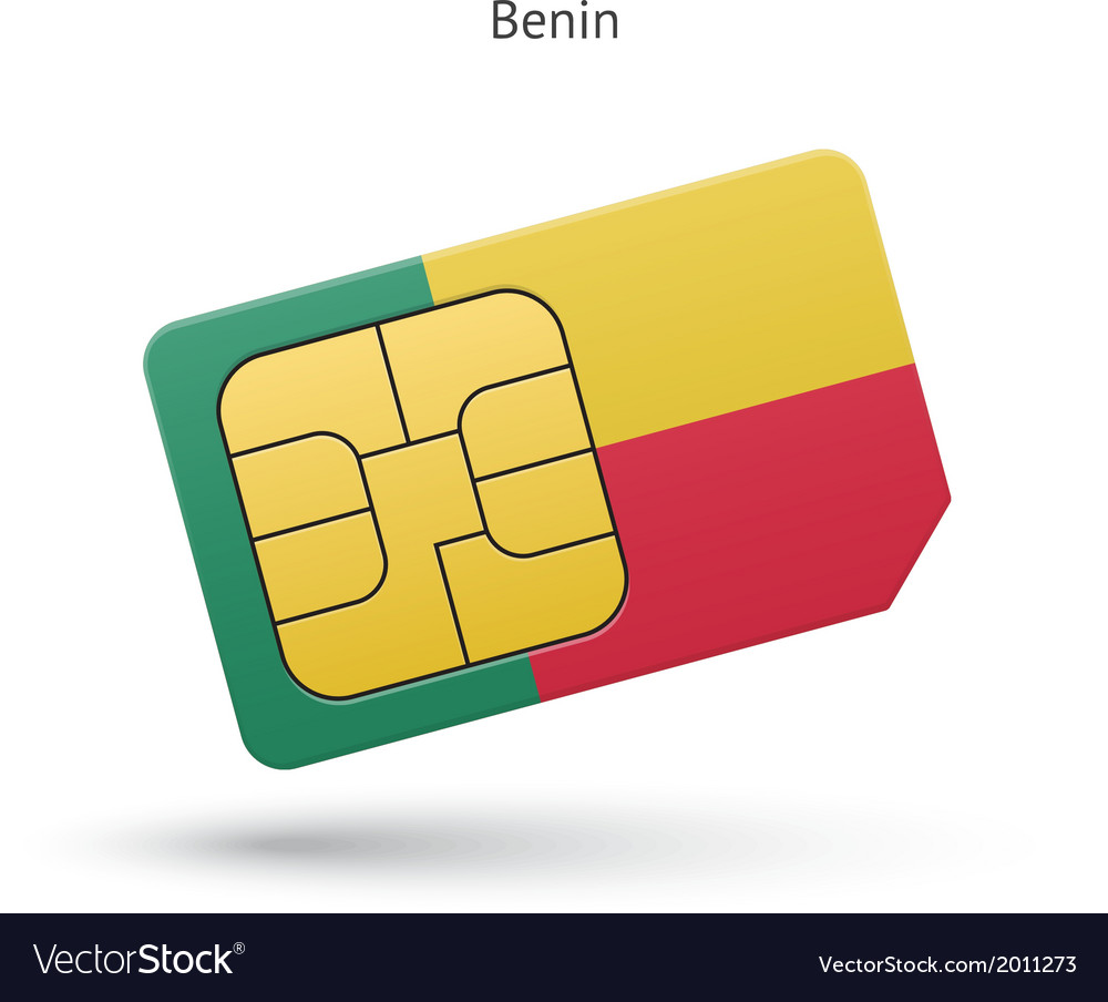 Benin mobile phone sim card with flag vector   Price: 1 Credit (USD $1)