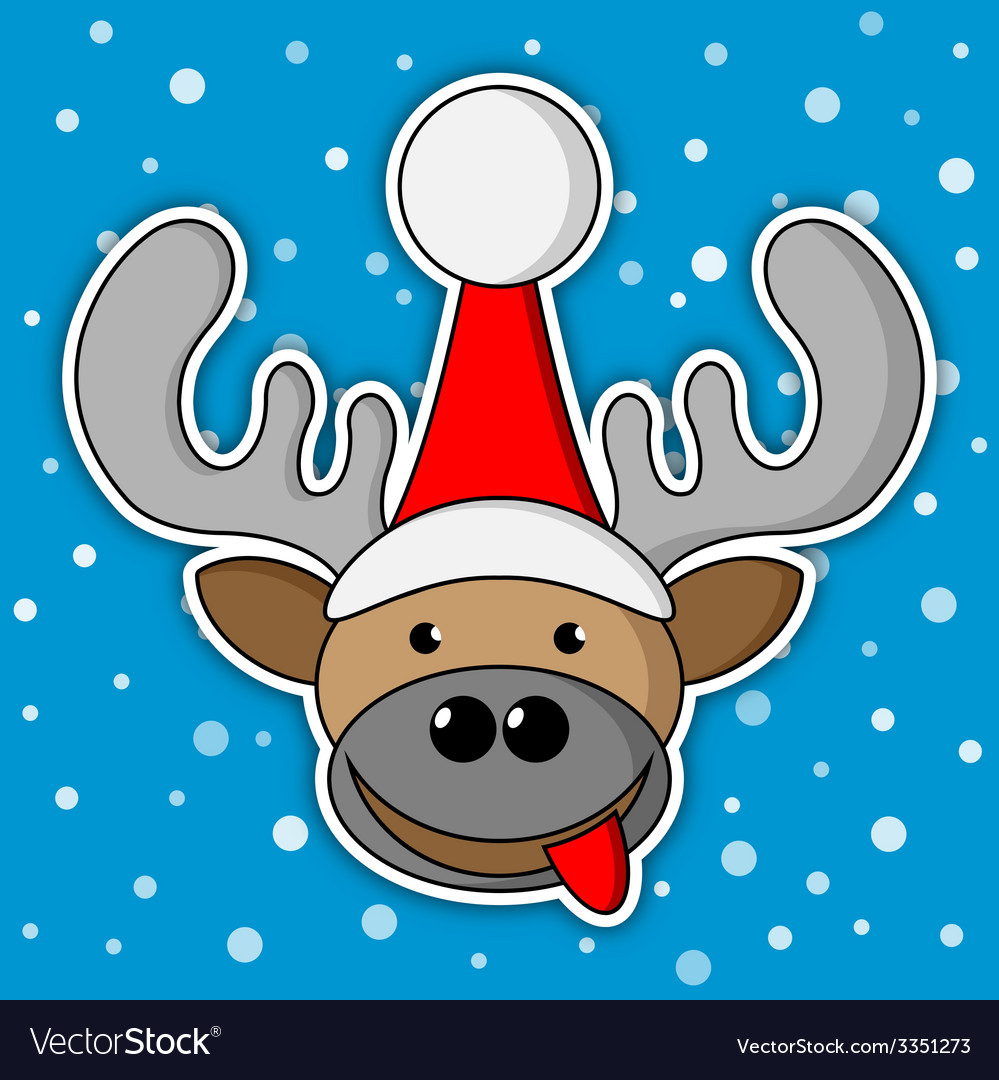 Christmas reindeer - blue background with snow vector | Price: 1 Credit (USD $1)