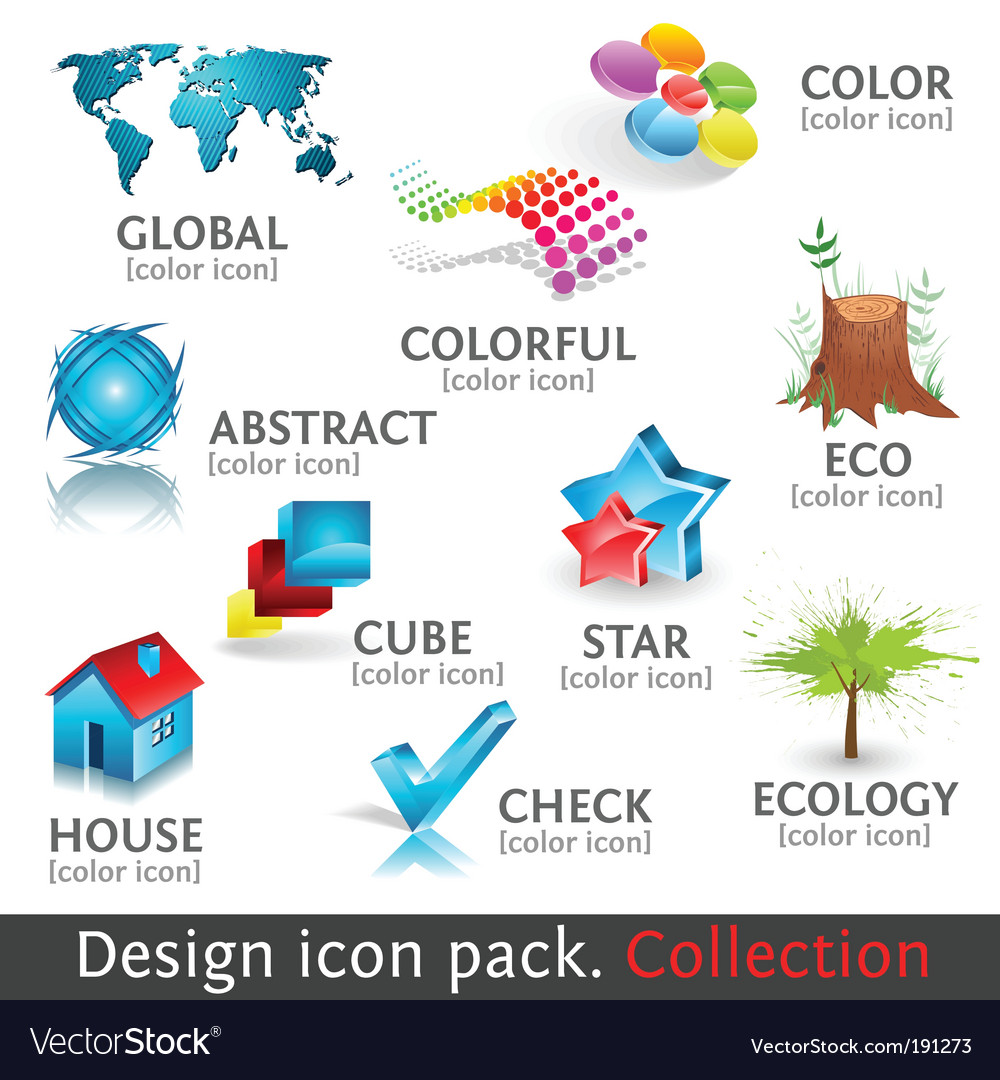 Design 3d color icon set vector | Price: 1 Credit (USD $1)