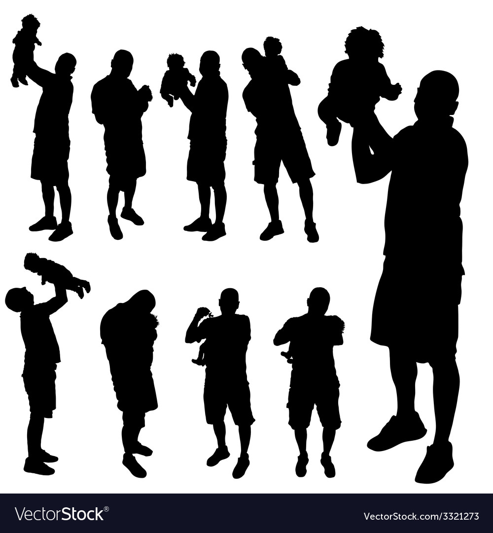 Father with baby silhouette vector | Price: 1 Credit (USD $1)