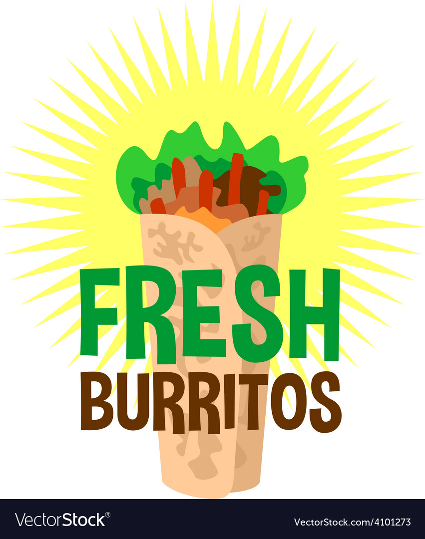 Fresh burrito logo snack bar signboard vector | Price: 1 Credit (USD $1)