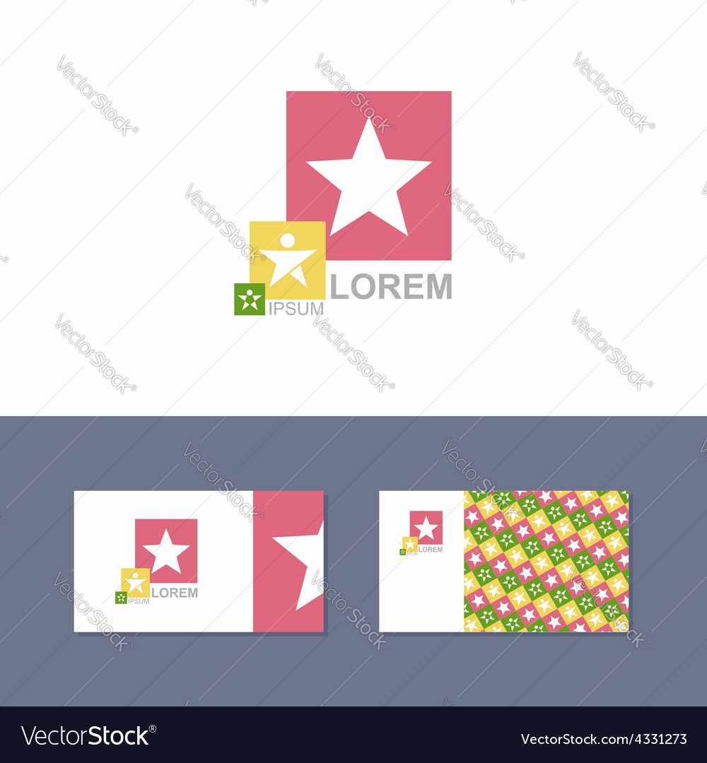 Icon logo design element with business card vector | Price: 1 Credit (USD $1)