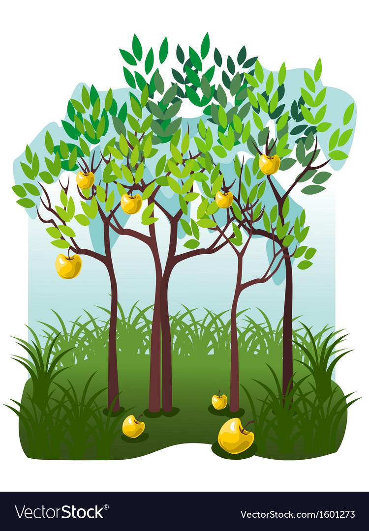Juicy fruits in the apple garden vector   Price: 1 Credit (USD $1)