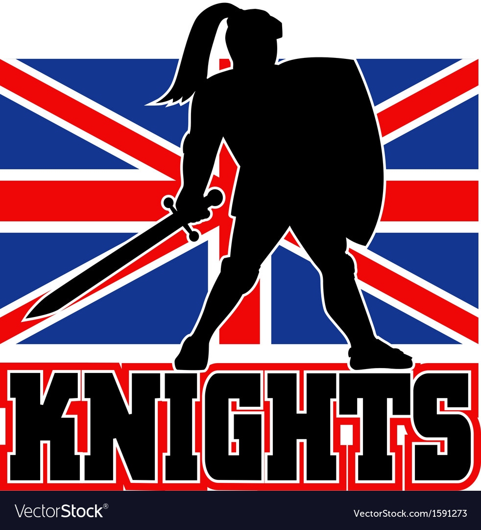 Knight with sword shield gb british flag vector | Price: 1 Credit (USD $1)