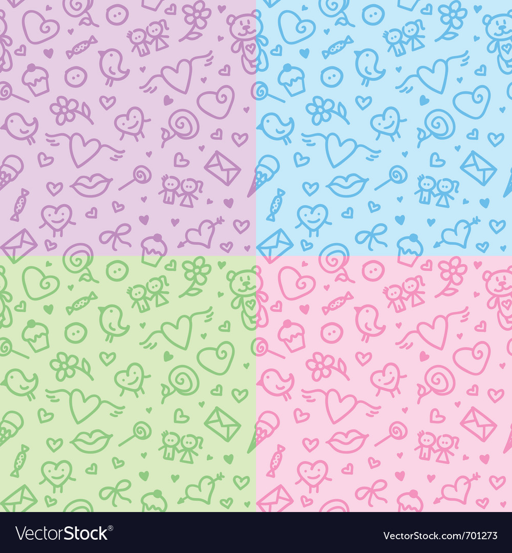 Romantic seamless patterns vector | Price: 1 Credit (USD $1)