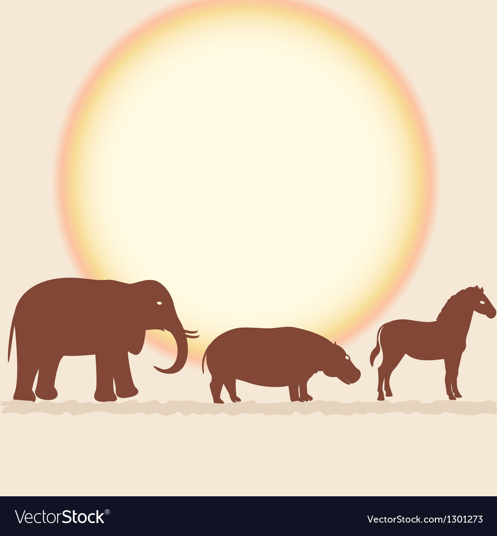 Savanna card with african animals vector | Price: 1 Credit (USD $1)