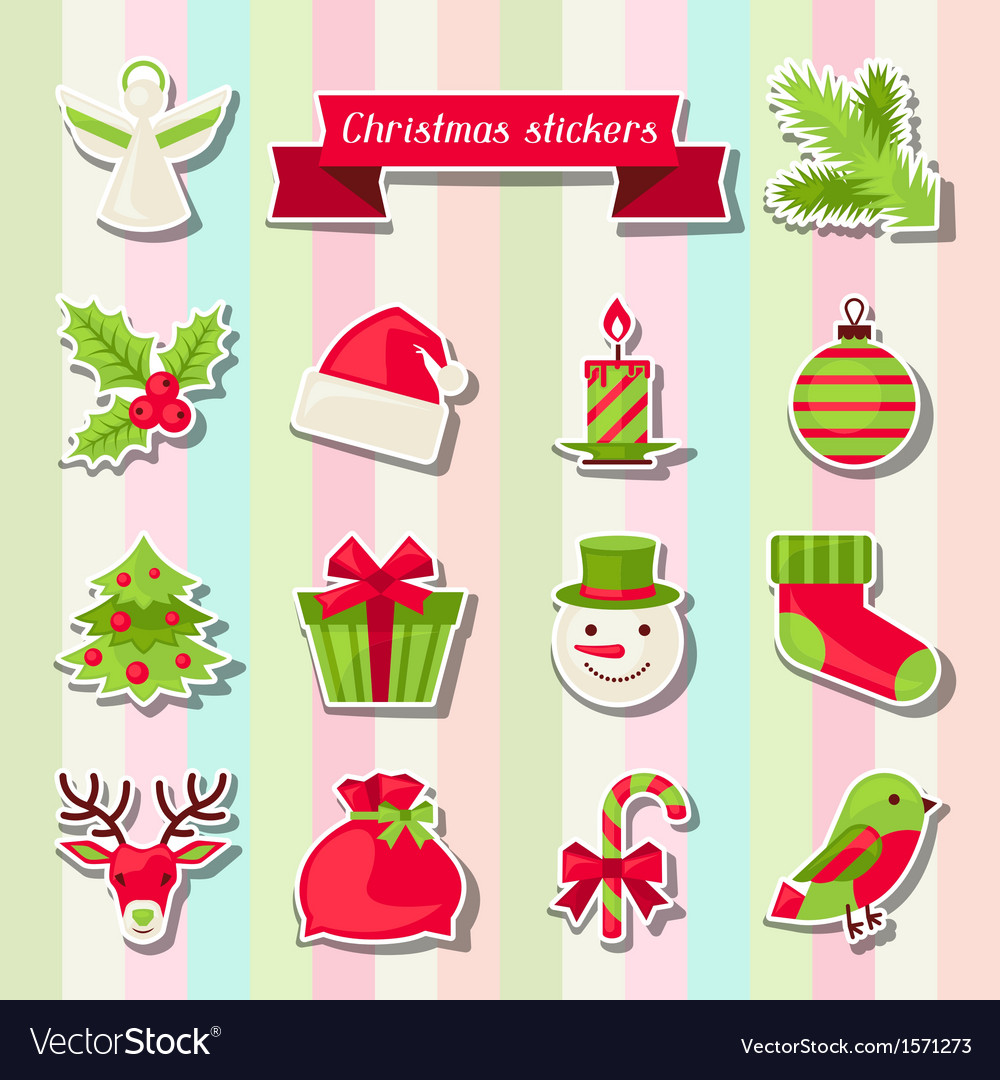 Set of merry christmas stickers vector | Price: 1 Credit (USD $1)