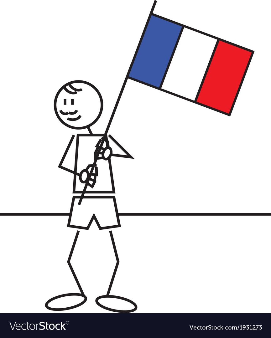 Stick figure france flag vector | Price: 1 Credit (USD $1)