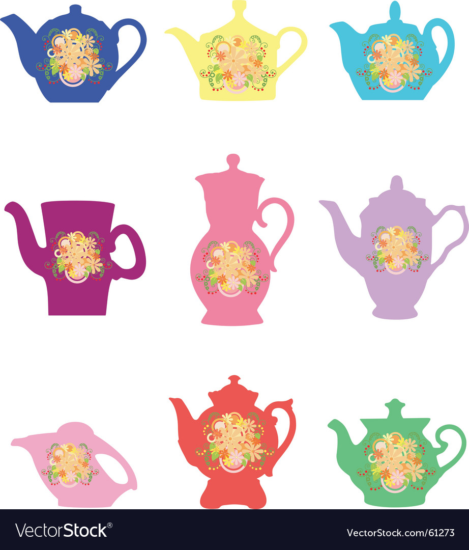 Teapots with a flower pattern vector | Price: 1 Credit (USD $1)