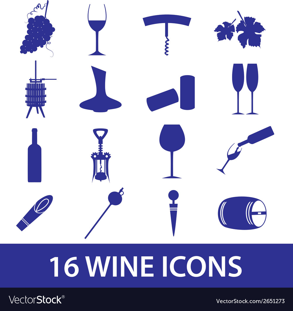 Wine icon set eps10 vector | Price: 1 Credit (USD $1)