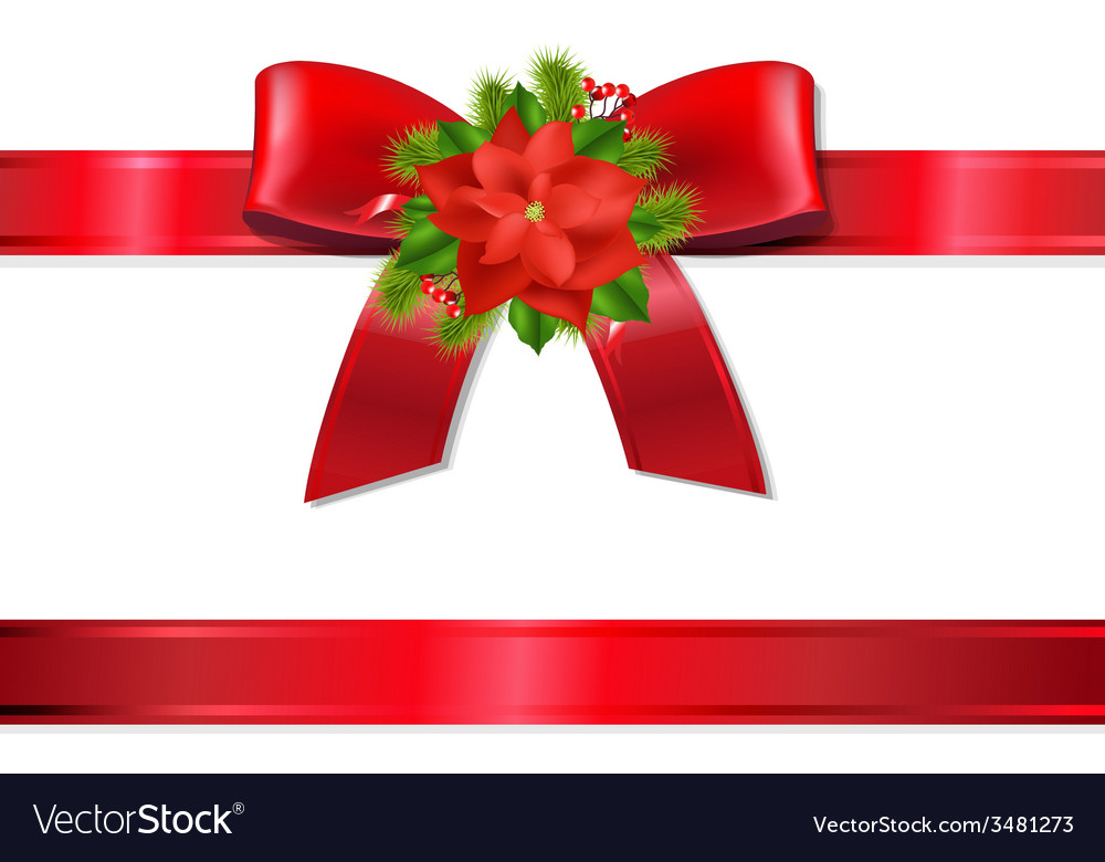 Xmas red ribbon and bow vector | Price: 1 Credit (USD $1)