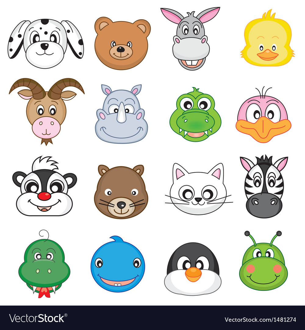 Animal faces set vector | Price: 3 Credit (USD $3)