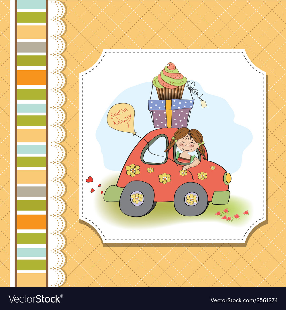 Birthday card with funny little girl vector | Price: 1 Credit (USD $1)