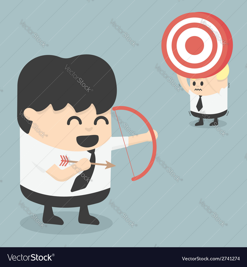 Businessman shooting target with a bow eps10 vector | Price: 1 Credit (USD $1)