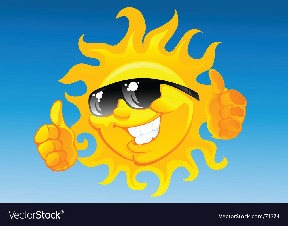 Cartoon sun in sunglasses vector