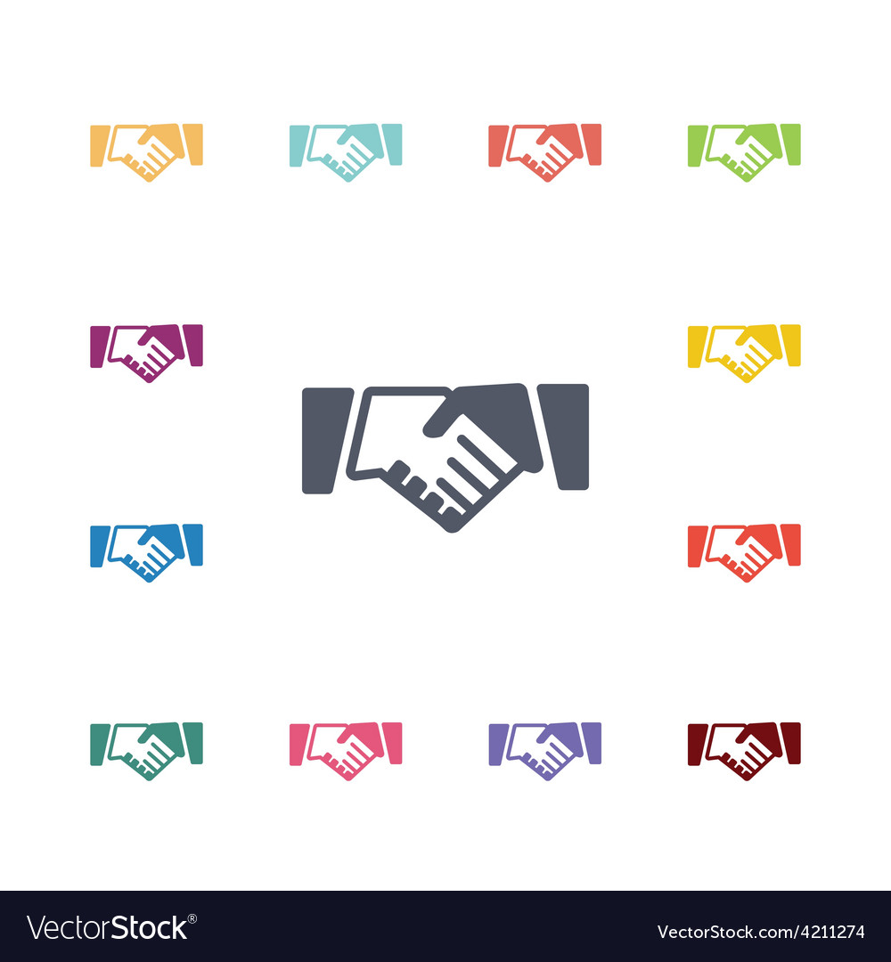 Handshake flat icons set vector | Price: 1 Credit (USD $1)