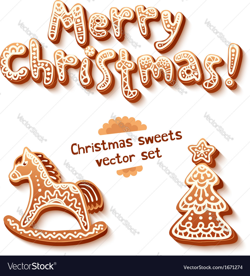 Merry christmas gingerbread sign horse and trees vector | Price: 1 Credit (USD $1)