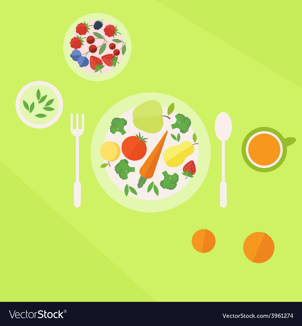 Plate with vegetables fruits and glass of juice on vector | Price: 1 Credit (USD $1)