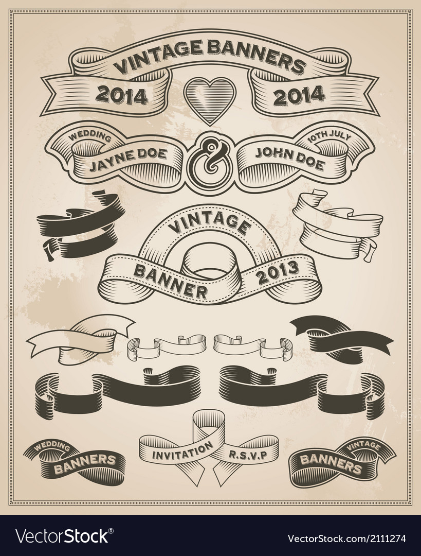 Retro vintage scroll and banner set vector | Price: 3 Credit (USD $3)