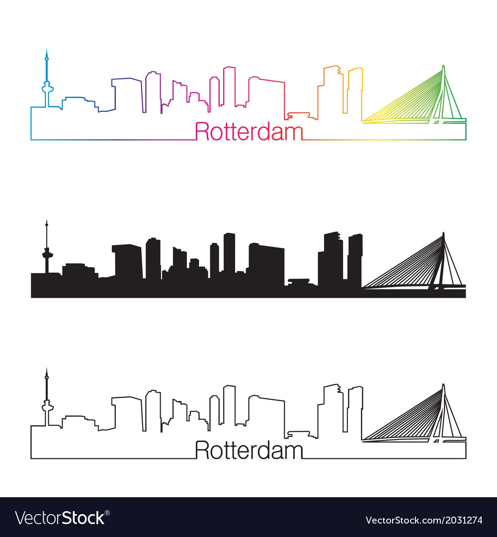 Rotterdam skyline linear style with rainbow vector | Price: 1 Credit (USD $1)