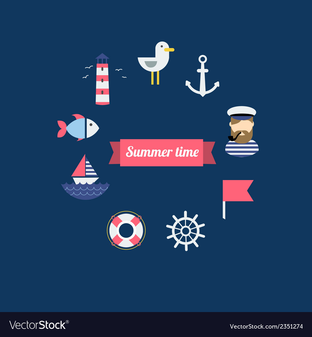 Sea theme in flat design vector | Price: 1 Credit (USD $1)