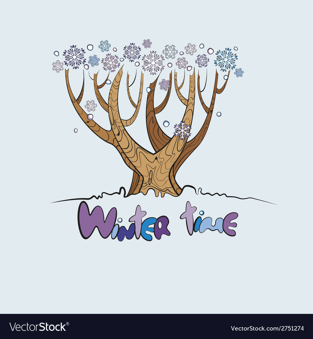 Stylized winter tree vector | Price: 1 Credit (USD $1)